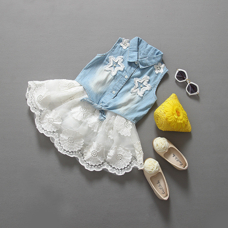 Stunning Girls Denim Top With Lace Skirt 2 Piece Set-Kids Clothes-Kids Bargain World