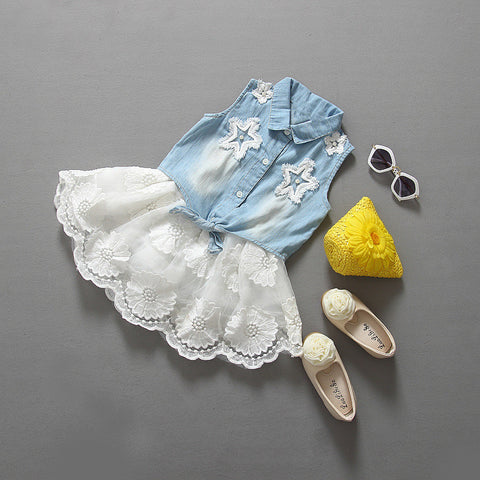 Stunning Girls Denim Top With Lace Skirt 2 Piece Set