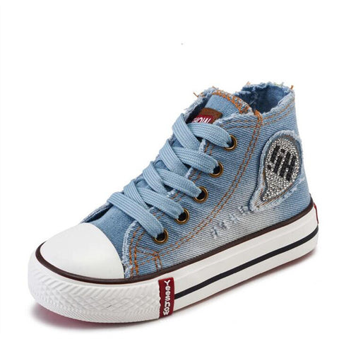 Children's High-Top Denim Bling Baseball Boots