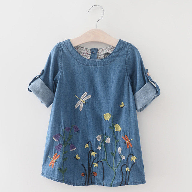 Kids Denim Embroidered Butterfly Dress 2-7 Years-Kids Bargain World