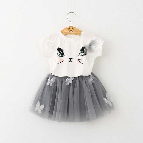 Girls 2 Piece T-Shirts + Net Veil Skirt Clothes Set