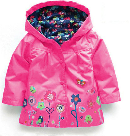 Beautiful Spring/Summer Flower Rain Jacket For Kids 2-6 Y