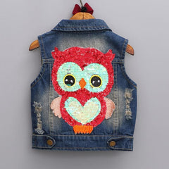 Gorgeous Kids Denim Owl Waistcoat 2-7 Years-Kids Clothes-Kids Bargain World