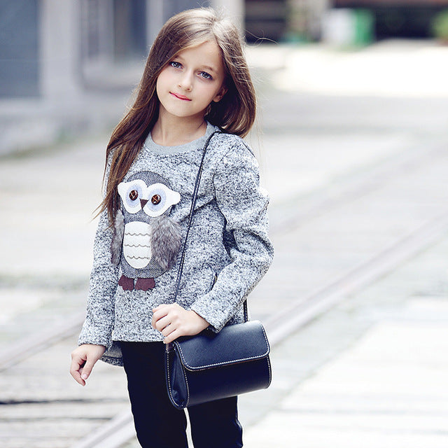 Cute Cartoon Owl Winter Sweater for Girls (up to 14 years)-Girls winter jackets-Kids Bargain World