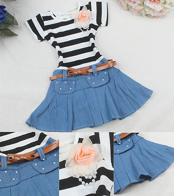 Girls Striped Top With Denim Skirt And Belt 18M-4Y