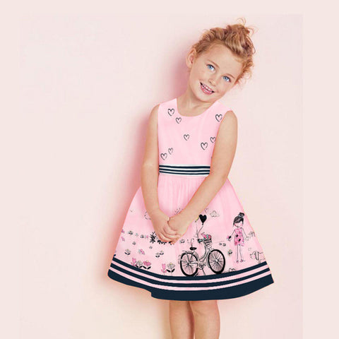 Girl Princess Floral Pattern Summer Dress 18M-7Y
