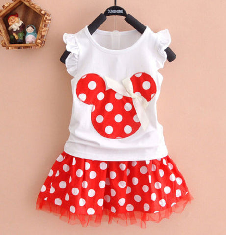 Gorgeous Minnie Mouse Style Polka Dot 2 Piece Set 18M - 4 Years
