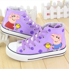 Kids Peppa Style Canvas Hi-Tops