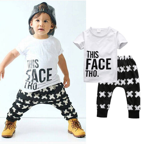 Kids Wear Harem Letter White Shirt + Cotton Bottoms 2pcs Set