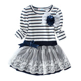 Little Girls Striped Bow Lace Princess Dress 2-8 Years-Kids Bargain World