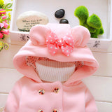 Little Girls Minnie Mouse Style Hooded Coat With Bow (1-3 Years)-Kids Jackets-Kids Bargain World