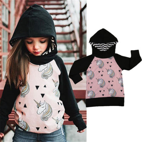 Girls Long Sleeve Unicorn Hoodie 1-5 Years