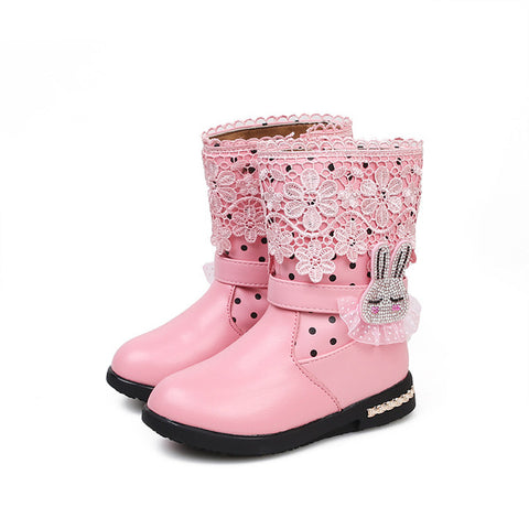 Girls Bunny Princess Waterproof  Winter Boots (3-10 Years)