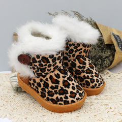 Kids Leopard Print Ugg Style Winter Fur Boots (1-6 Years)-Kids Footwear-Kids Bargain World