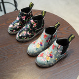 Dashing Floral Chelsea Style Boots For Girls (1-8 Years)-Kids Footwear-Kids Bargain World