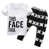 Kids Wear Harem Letter White Shirt + Cotton Bottoms 2pcs Set-Kids Bargain World