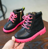 Kids Two Tone Timberland Style Boots With Side Zipper (3-9 Years)-Kids Footwear-Kids Bargain World