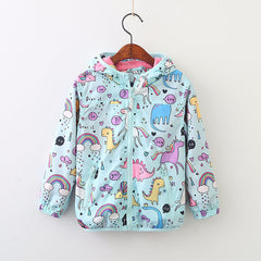 Beautiful Kids Unicorn Dinosaur Lined Hooded Coat-Kids Jackets-Kids Bargain World