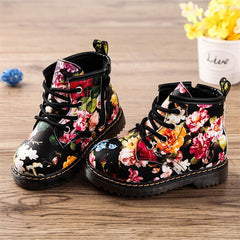 Super Cute Dr Marten Style Girls Non-Slip Flower Boots - 2-4 years