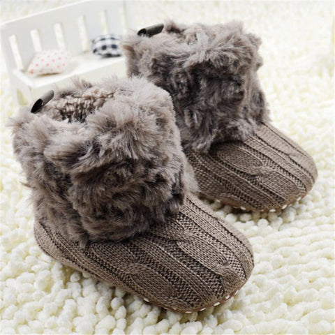 Gorgeous Fleece Knitted  Baby Booties