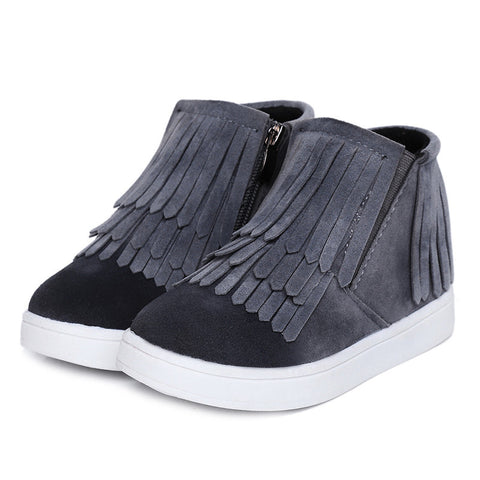Kids Tassel Nubuck Leather Short Boot