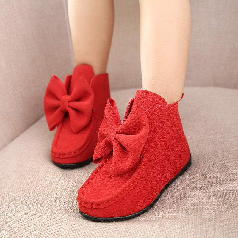 Girls Big Butterfly Bow Suede Boots 2-9 Years-Kids Bargain World