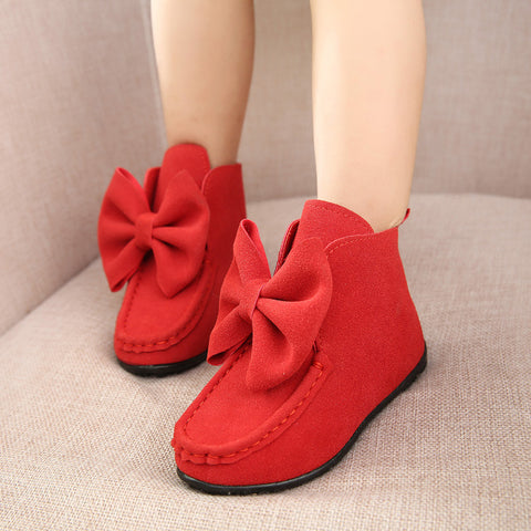 Girls Big Butterfly Bow Suede Boots 2-9 Years