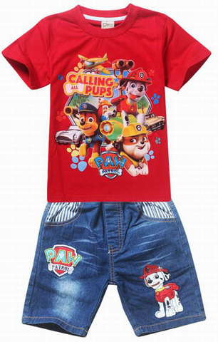 2 Piece Denim Shorts And Tshirt Paw Partrol Style Sets