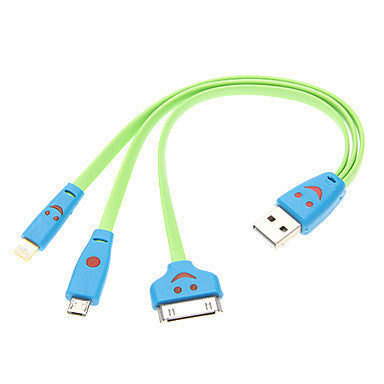 Universal Smile Face USB 3 in 1 Cable (Assorted Color)-Random color delivery