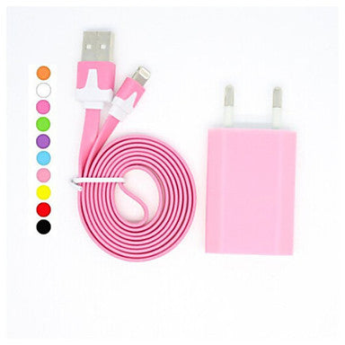 Colorful 100CM 8 Pin Charge and Data Flat Cable with EU Plug for iPhone 6/6 Plus,iPhone 5/5S and Others(Assorted Colors)