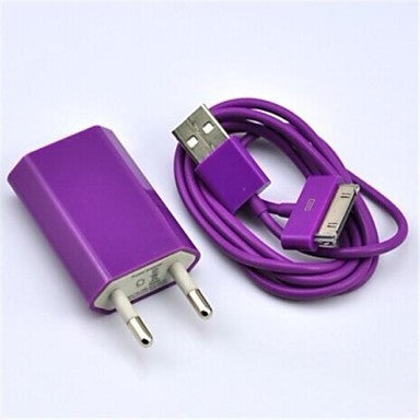 Colorful EU Plug AC Wall Charger with 100cm 30 Pin Cable for iPhone4/4S and Others(AC110-240V,1A)
