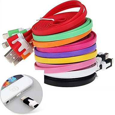 Colorful Noodle Style Apple 8 Pin 3M Sync Charger USB2.0 Cable for iPhone 6 iPhone 6 Plus iPhone 5 (300cm)