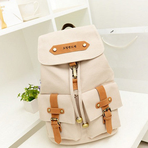 c594c6478 Cute Lady Girls Versatile Vintage Canvas Satchel Backpack Shoulder School  Bag