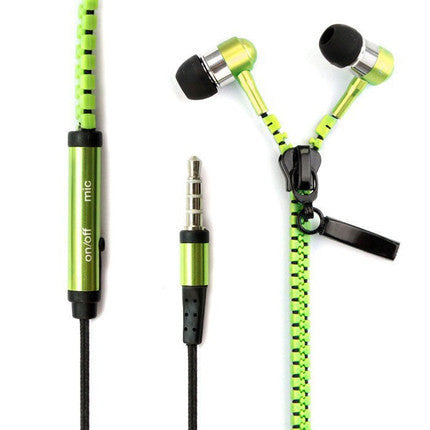 Zipper Style In-Ear Headphone with Mic for Mobilephone