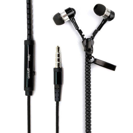 Fashion 3.5 mm Audio Jack Zipper Design In-ear Headphones with Microphone