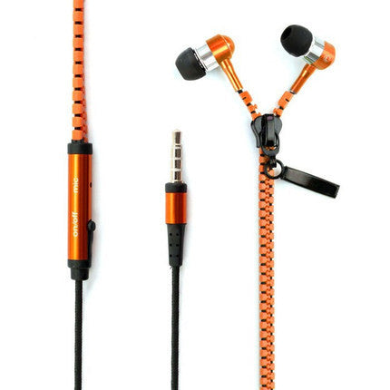 3.5 mm Audio Jack Zipper Design In-ear Headphones with Microphone