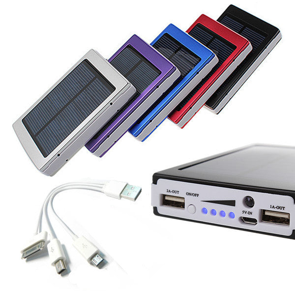 30000mAh Phone Mobile Solar Panel Travel Hiking Charger Battery Dual USB External Power Bank For Iphone For Samsung