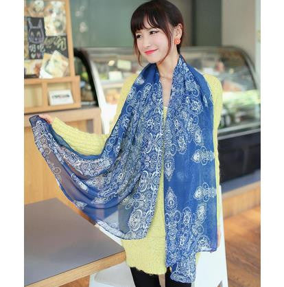 Fashion Totem female Korean version of the new chiffon and cotton scarf