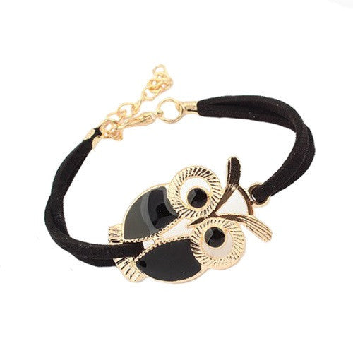Alloy Owl Charm Sideways Leather Bracelets