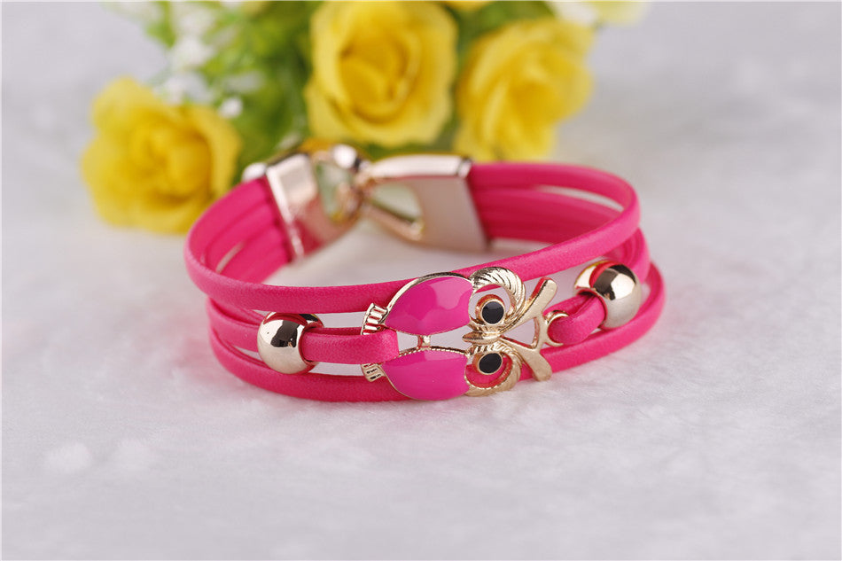 European and American Fashion Owl Beaded Leather Bracelet