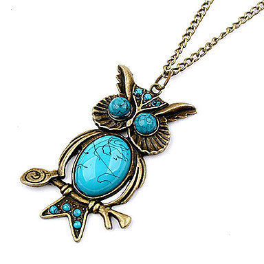 Cute Vintage Owl Blue Gem Necklace