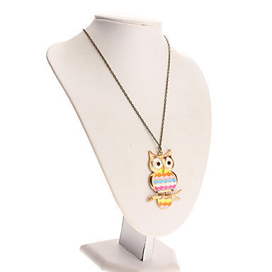 Retro Rainbow Owl Necklace