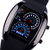 New Arrival Fashion Aviation Turbo Dial Flash LED Watch Gift Mens Lady Sports Car Meter