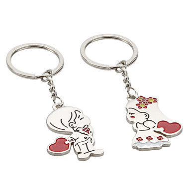 Bridegroom and Bride Shaped Metal Keychain (1 Pair)