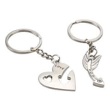 Arrow and Heart Style Metal Couple Keychains (1 Pair)