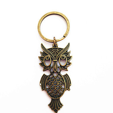 Vintage Owl Shape Bronze Alloy Keychain(1 Pc)