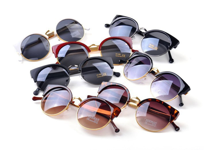 Cat Eye Vintage Sunglasses Women Top Fashion Girls Summer Retro Round Sun Glasses
