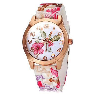 Women's Watch Fashion Colorful Flower Pattern Silicone Band