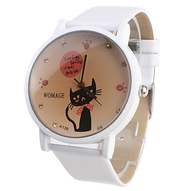 Girl's Cartoon Cat Pattern White PU Band Quartz Analog Wrist Watch