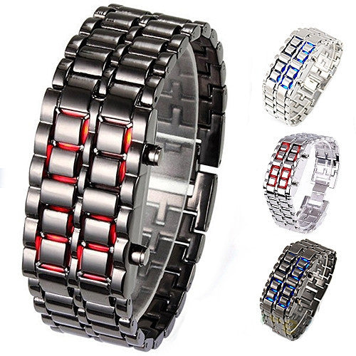 Casual watch Fashion Men Women Lava Iron Samurai Metal LED Faceless Bracelet Watch Wristwatch